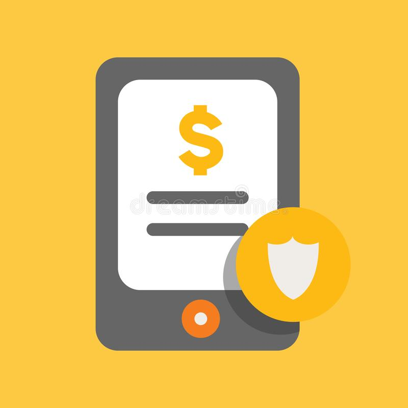 Business, Banking and Finance icon, secure transaction in mobile banking flat vector illustration royalty free illustration
