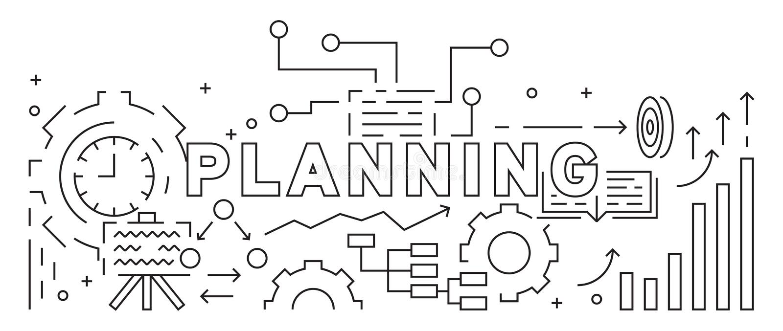 Planning And Business Strategy Concept. Line Art Design. Black And White Illustration. Business Banner, Background, and Landing Pa royalty free illustration