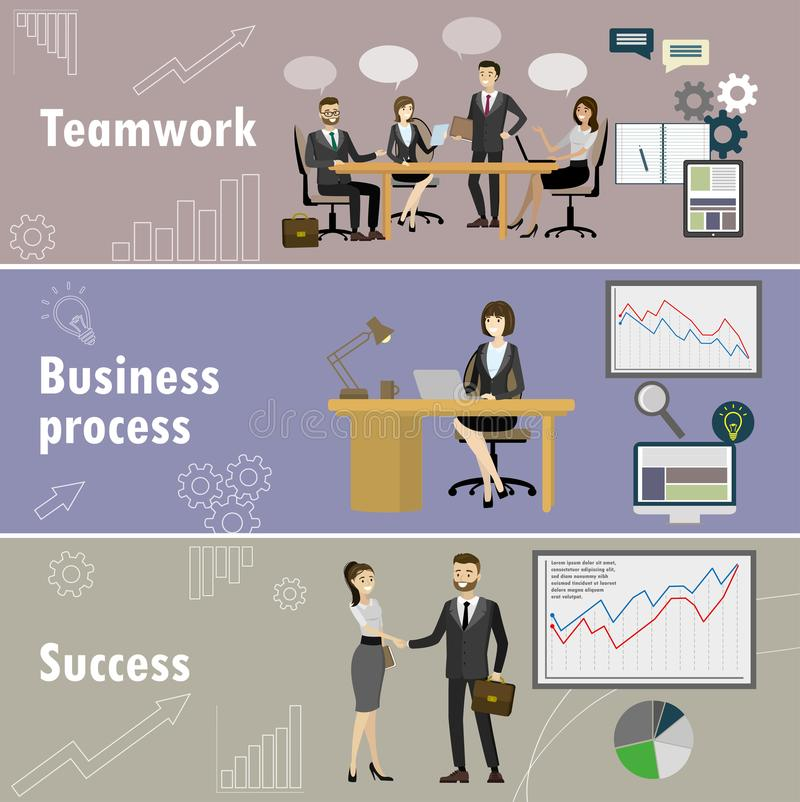 Business banner,Three themes - teamwork, business team, success. Cartoon vector illustration royalty free illustration