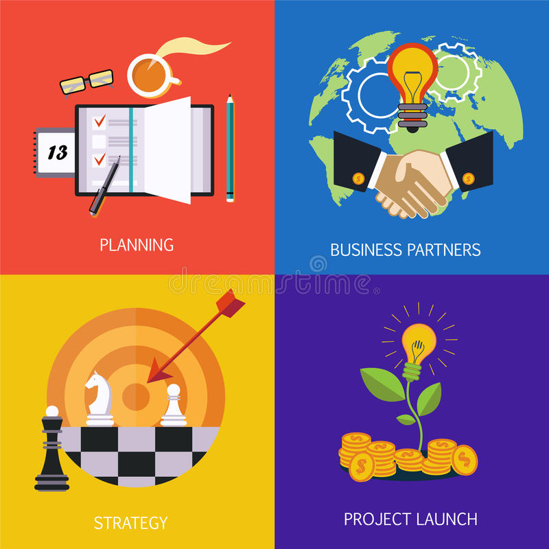 Business banners. business partners, strategy, planning and launch of the project. Vector flat. Style vector illustration