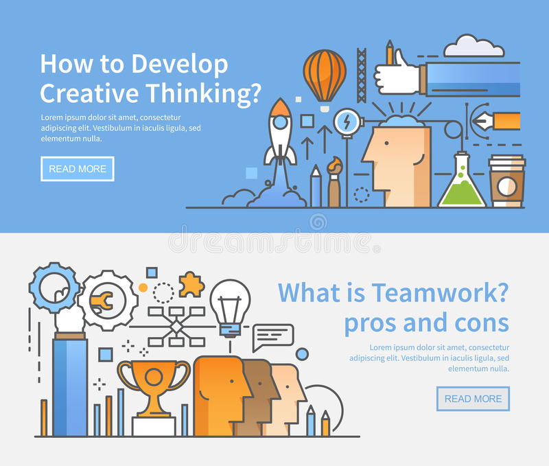 linear modern flat style creativity in the work organization of working process management and control teamwork ideas lateral thinking success