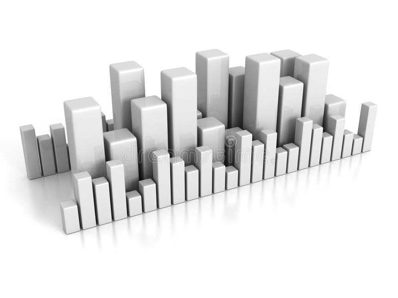 Business bar chart graph on white background royalty free illustration