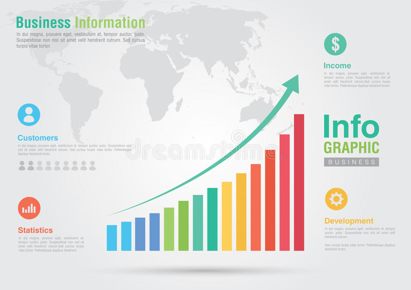 Business bar chart infographic. Business report creative marketing. Business success royalty free illustration