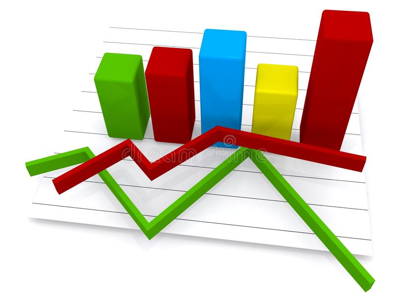 Business bar chart and line graphs royalty free illustration