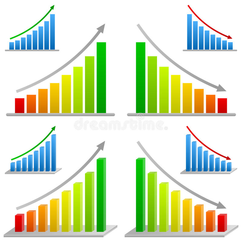 Business Bar Charts Set vector illustration