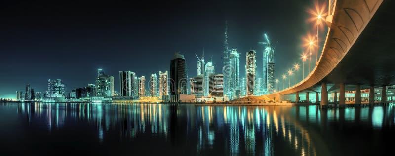 Business bay of Dubai, UAE. Panoramic view of Dubai Business bay, UAE stock photo