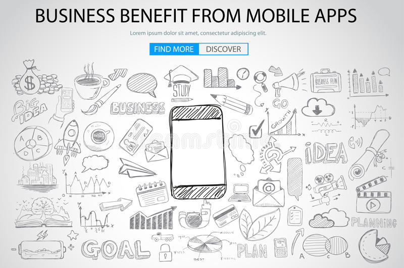Business Benefit From Mobile concept with Doodle design style vector illustration