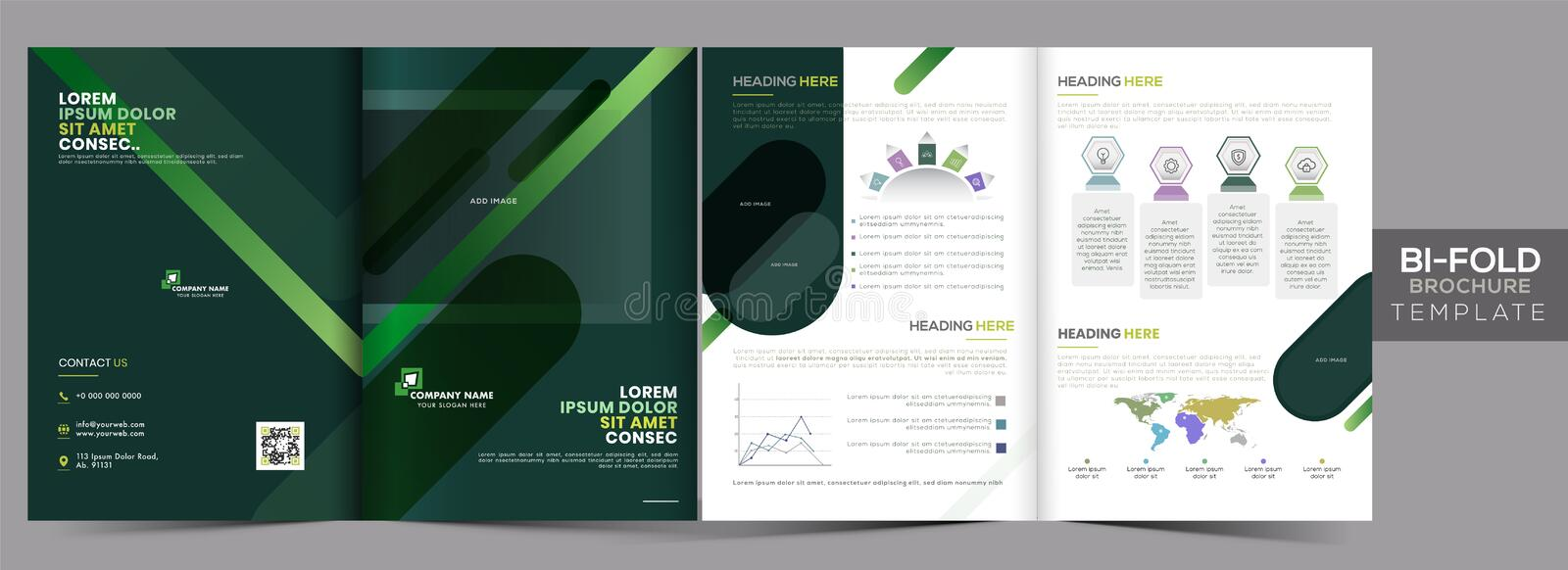 Business Bi-Fold Brochure Template Layout, Annual Report in Green and White Color 皇族释放例证
