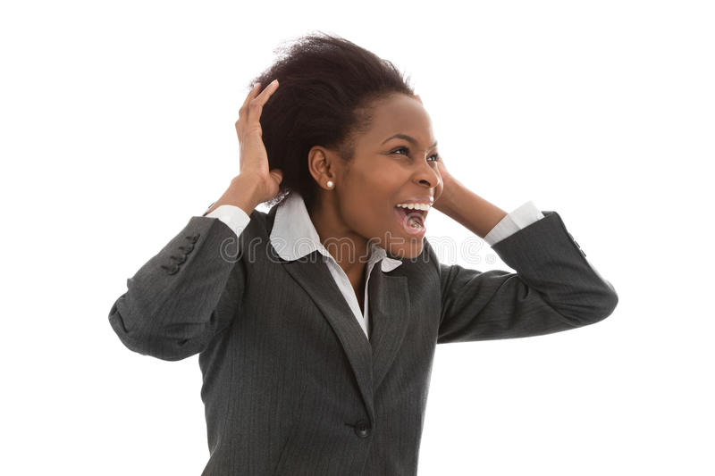 Business: black power woman calling out isolated on white background royalty free stock photo