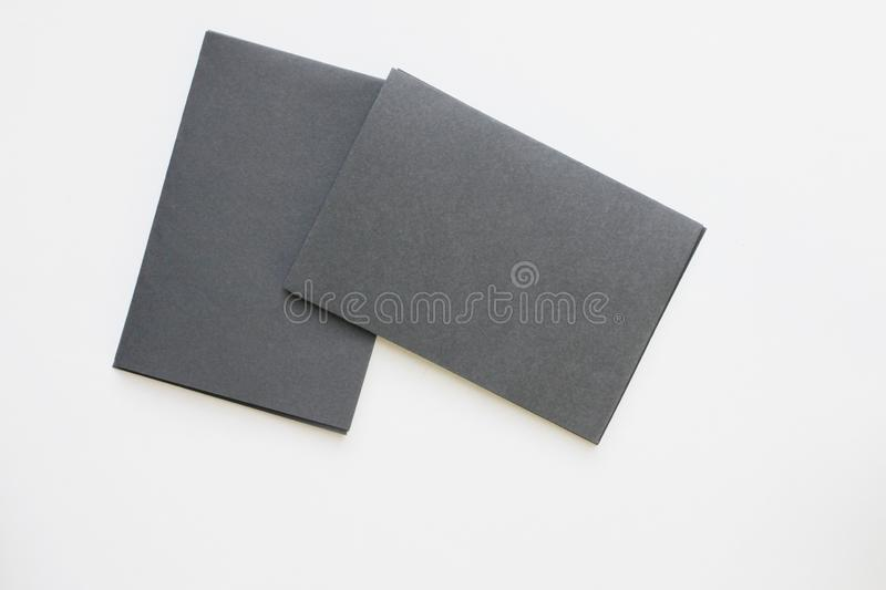 Business blank black card placed on the desk top view stock images