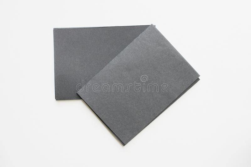 Business blank black card placed on the desk top view stock photo