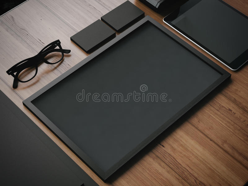 Business blank elements on a wooden table. 3d stock images