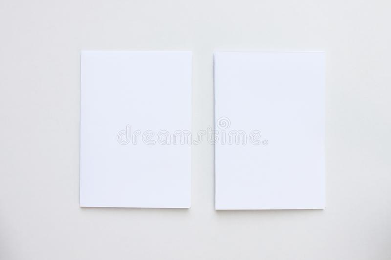 Business blank white card placed on the desk top view royalty free stock images