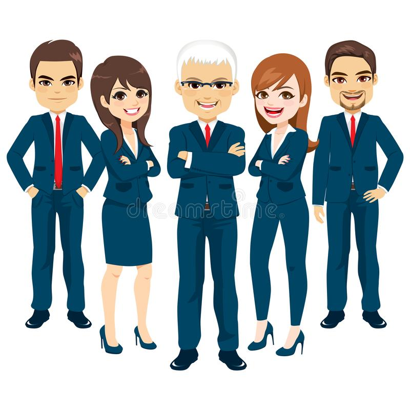 Business Blue Suit Team. Set of female and male office workers royalty free illustration