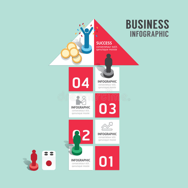 Business board game concept infographic step to successful,arrow shap vector illustration vector illustration
