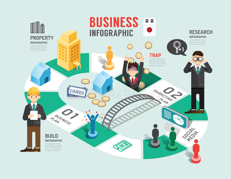 Calendar Illustration Board : Business board game concept infographic step to successful