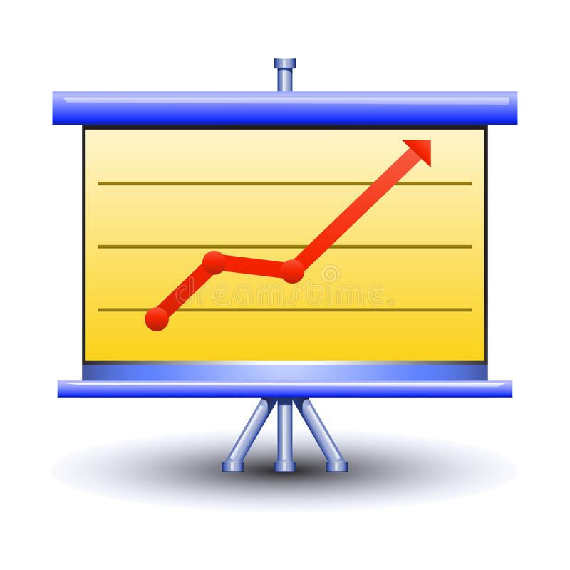 Business board with pictured diagramm. Illustration of business board with pictured diagramm on it. picture has different colors. the arrow shows the growth at vector illustration