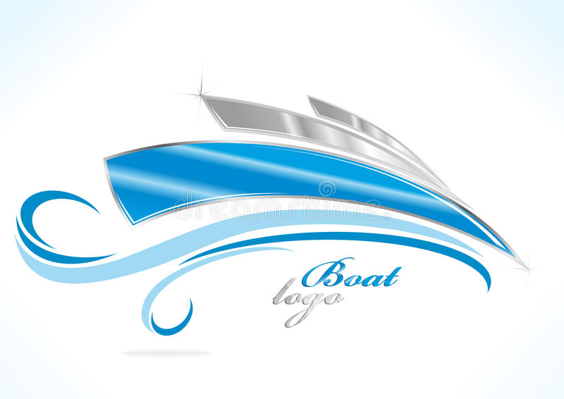 Business boat logo. With blue waves