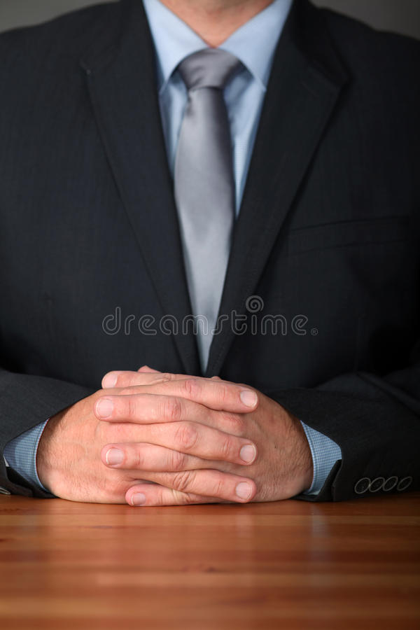 Business Body Language. Businessman Hands on Table. Body Language stock photos