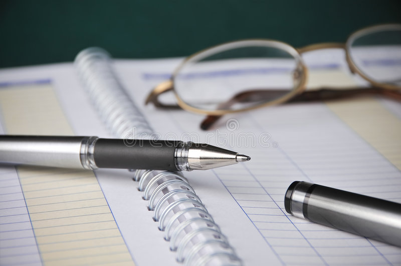 Business, Books Charts, Expenses Bookkeeping, Pen stock photo