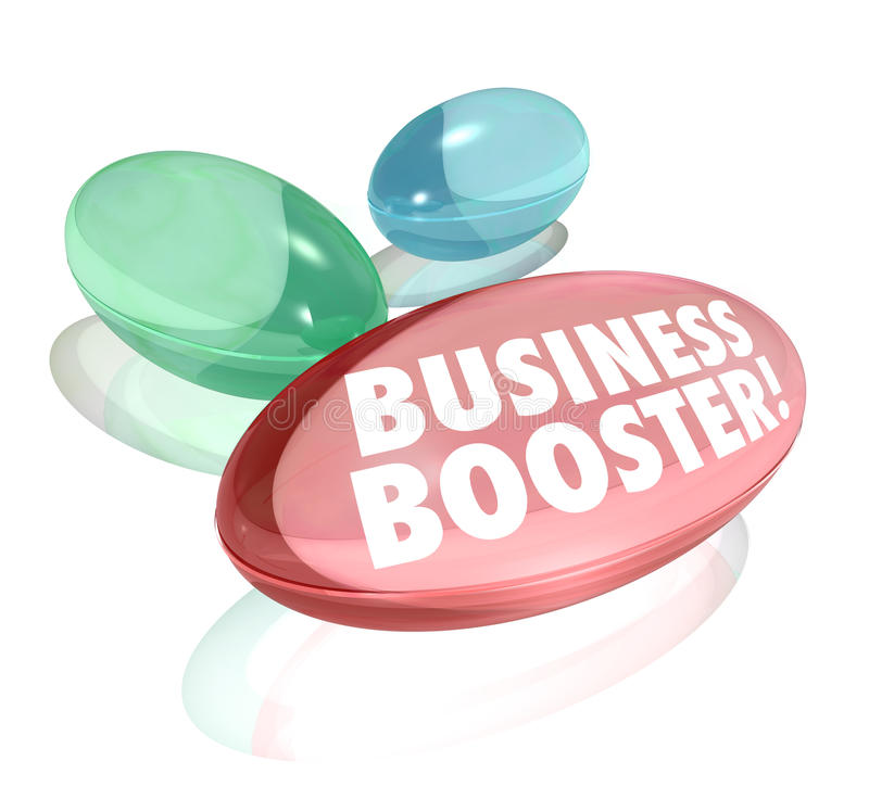 Business Booster Vitamins Increase Sales Success. The words Business Booster on vitamins or supplements to symbolize help in growing your profits or increasing stock illustration