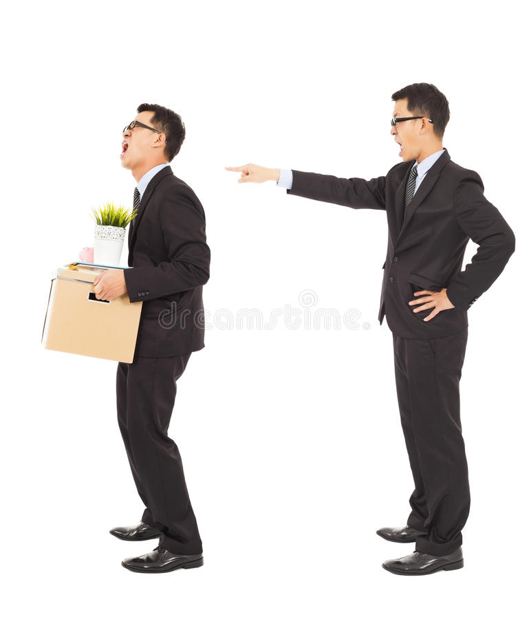 Business boss pointing to fire the employee stock images