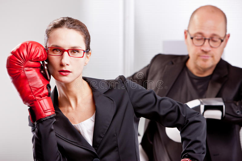 Business box match interrupted by telephone call royalty free stock photography