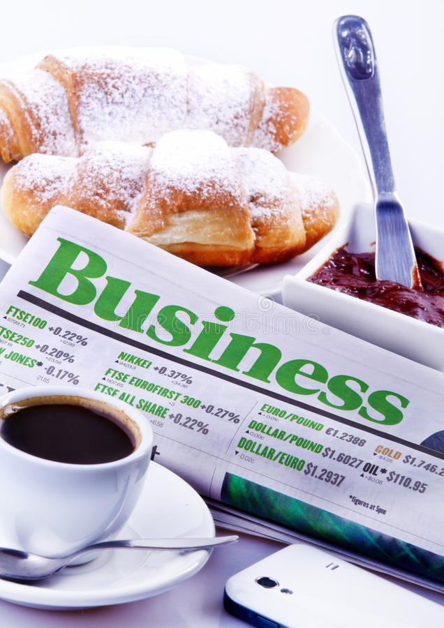 Download Business Breakfast editorial stock image. Image of croissant - 28660529