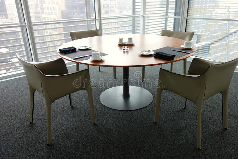 Business Breakfast. A table set for a breakfast meeting stock photography