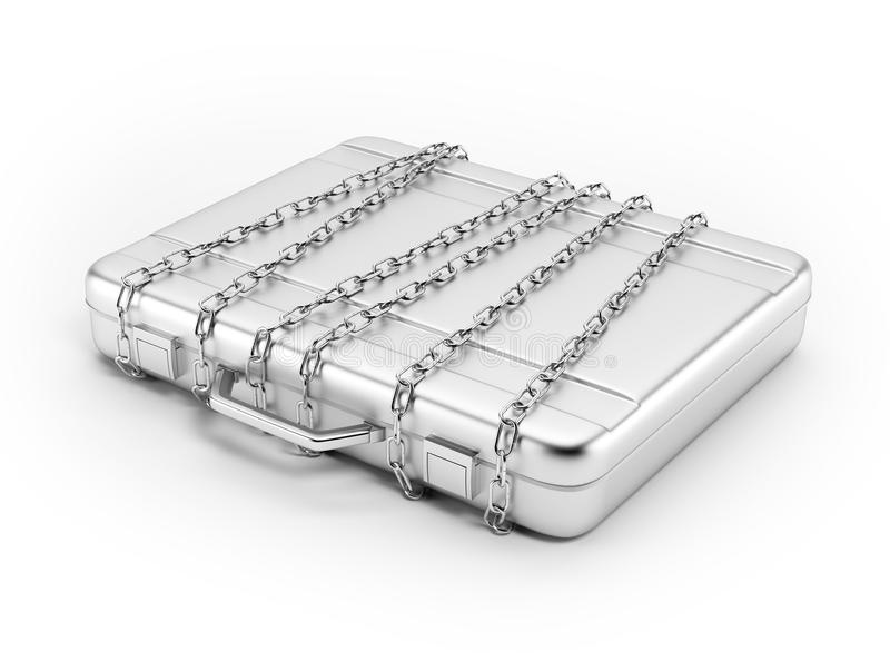 Business briefcase locked with strong chain. Isolated on white background royalty free illustration