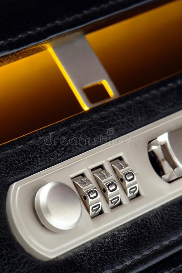 Business Briefcase Open Combination Safety Lock royalty free stock photos
