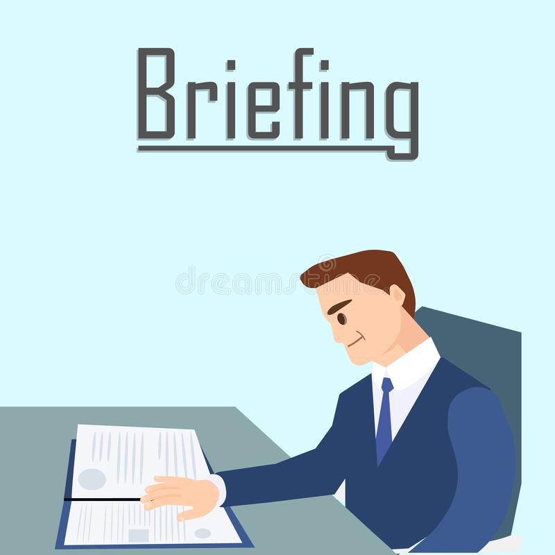 Business Briefing, Man Reading Documents Report. vector illustration