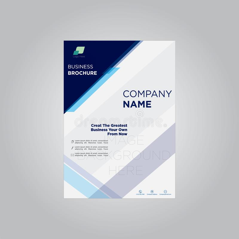 Business brochure company profile dark blue template stock illustration