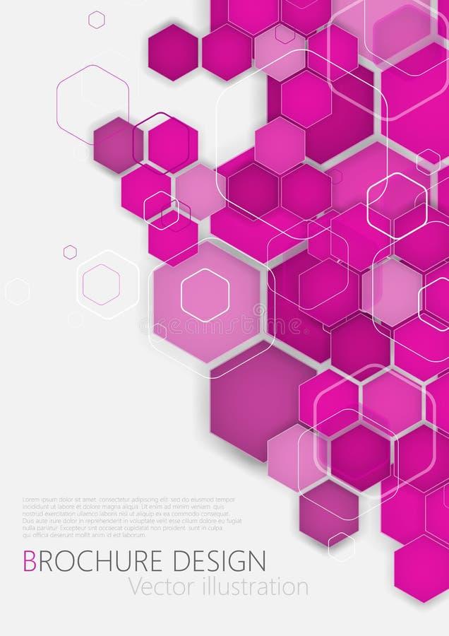 Business brochure cover design template. Vector. Pink Background. Clip-art stock illustration