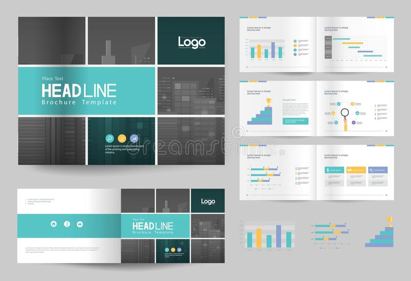 Business brochure design template and page layout for company profile, annual report, royalty free illustration