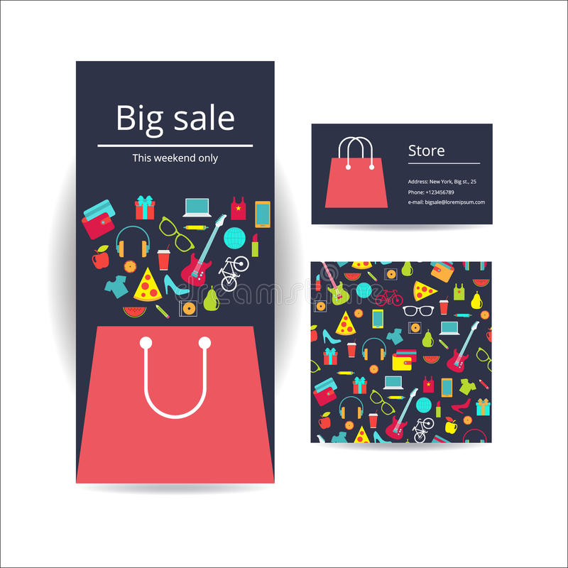 Business Brochure Flyer Banner, Business Card And Card With Seam ...
