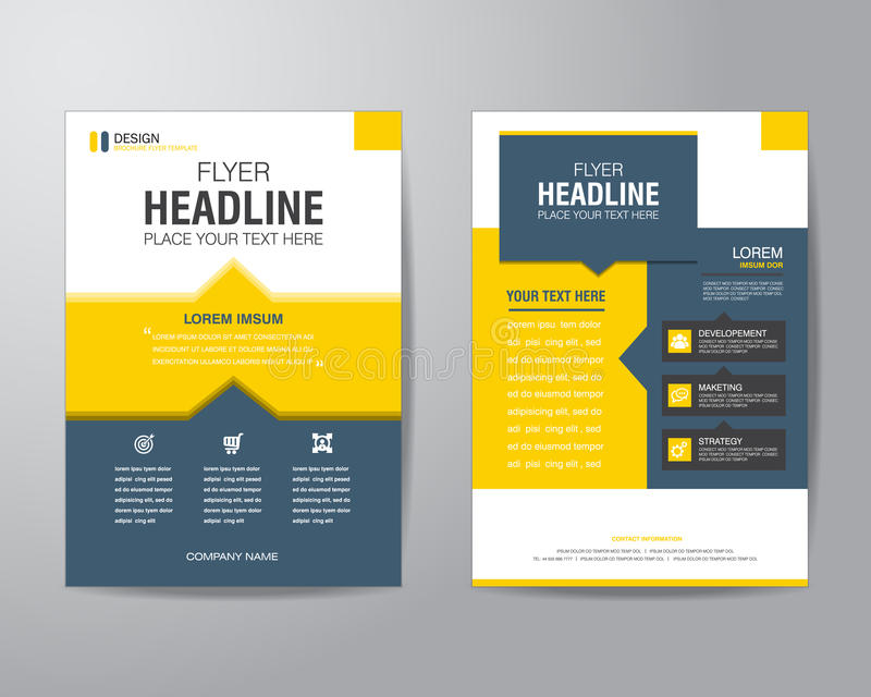 Business brochure flyer design layout template in A4 size, with royalty free illustration