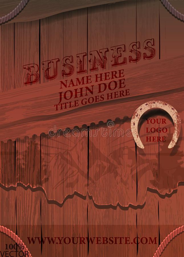 Business brochure flyer design layout template in A4 size, With texture of wood background stock illustration
