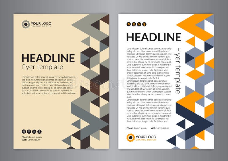 Business brochure flyer design layout template, size A4, with triangle pattern. Modern Backgrounds. vector illustration