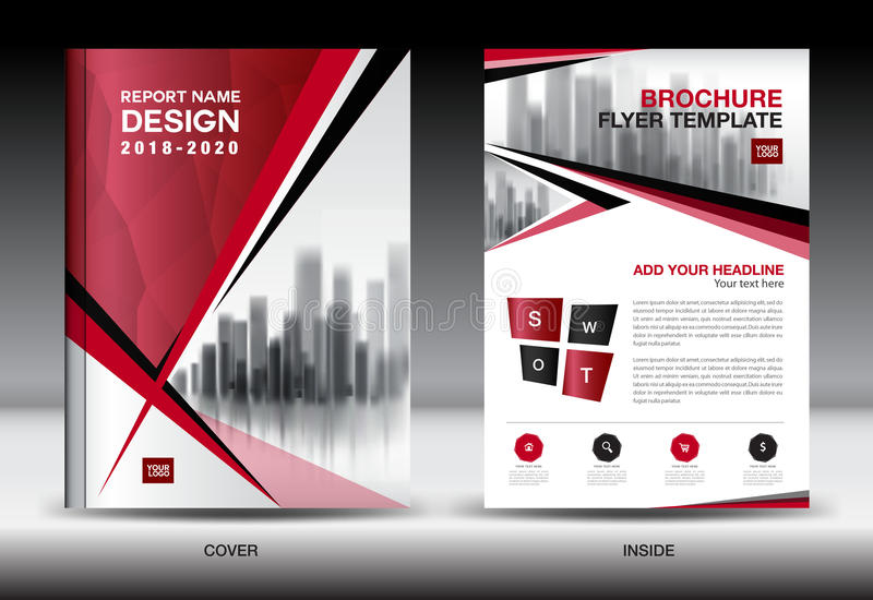 Business Brochure flyer template, Red cover design, company profile vector illustration