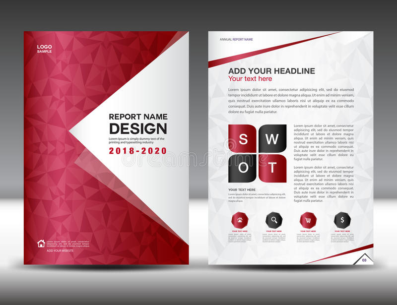 Business brochure flyer template in A4 size, Red Cover design royalty free illustration