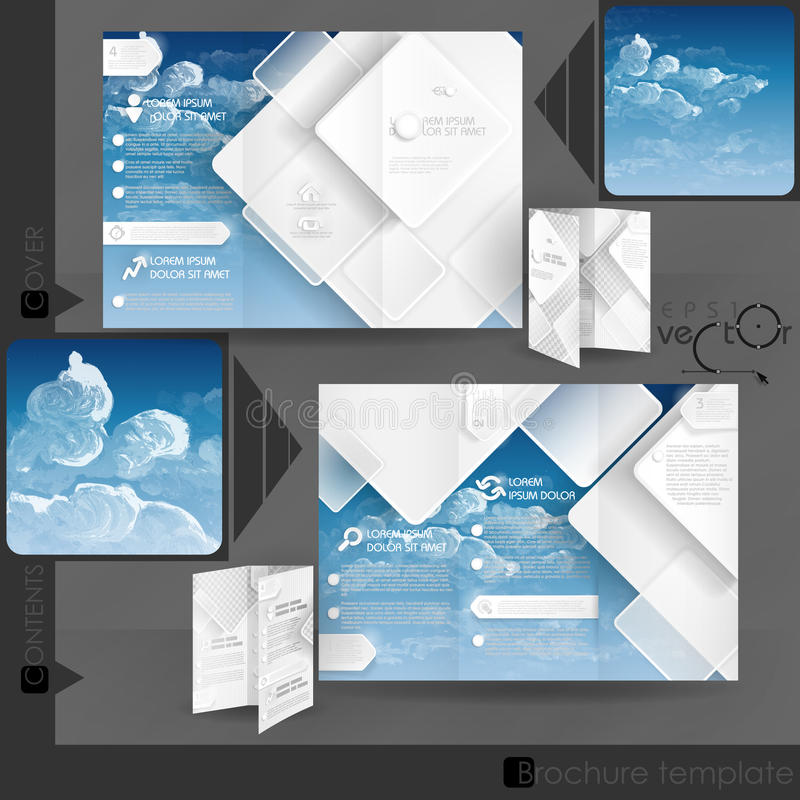 Business Brochure Template Design. With White Square Elements. Vector Illustration. Eps 10 stock illustration