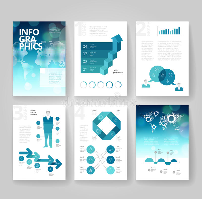 Business brochure template with infographics vector illustration