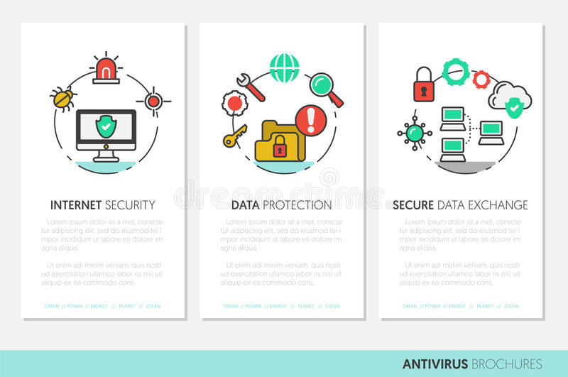 Business Brochure Template. Internet Security Data Protection Linear Thin Icons royalty free illustration