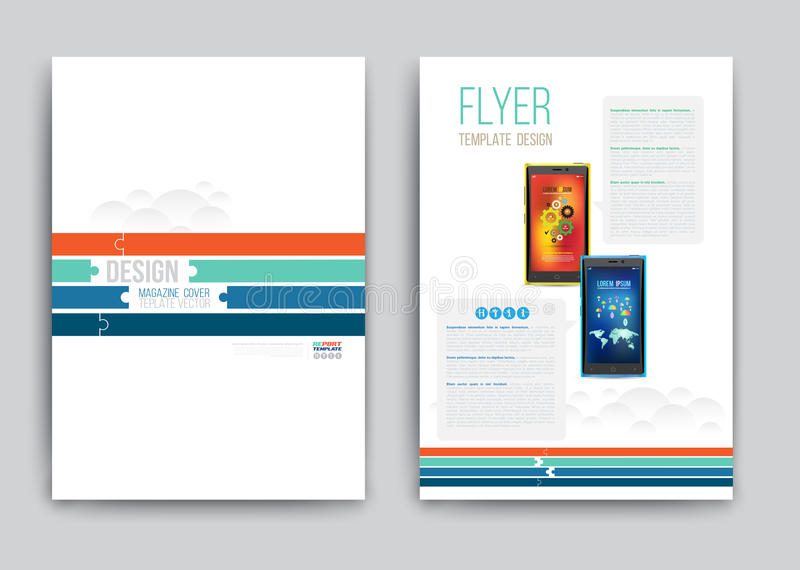 Business Brochure template with smartphones. royalty free illustration