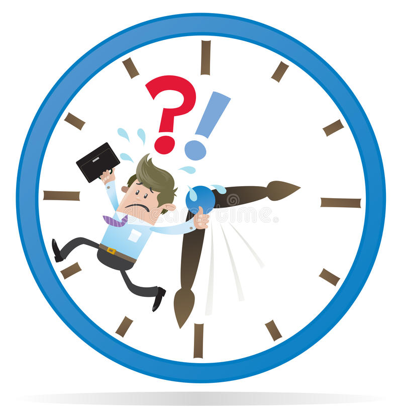Business Buddy is Running out of Time. Illustration of Business Buddy clearly very distressed as he is running out of time in his giant metaphorical clock royalty free illustration