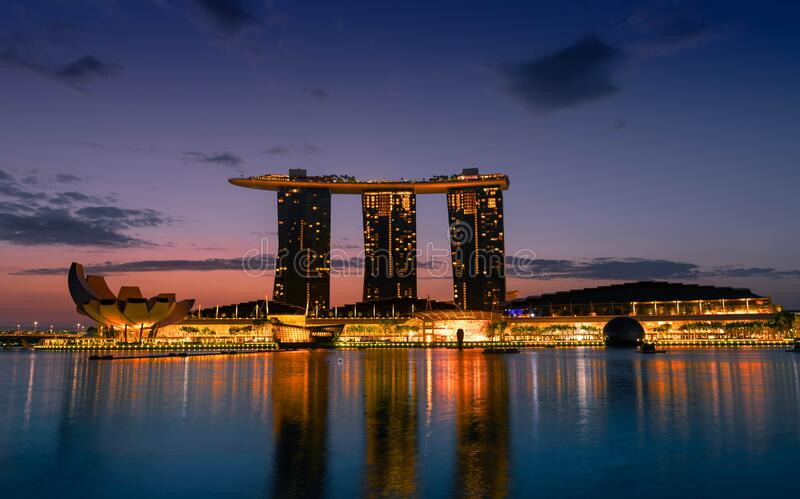 Business building around Marina bay. Modern high building in business district area at sunrise.  stock images