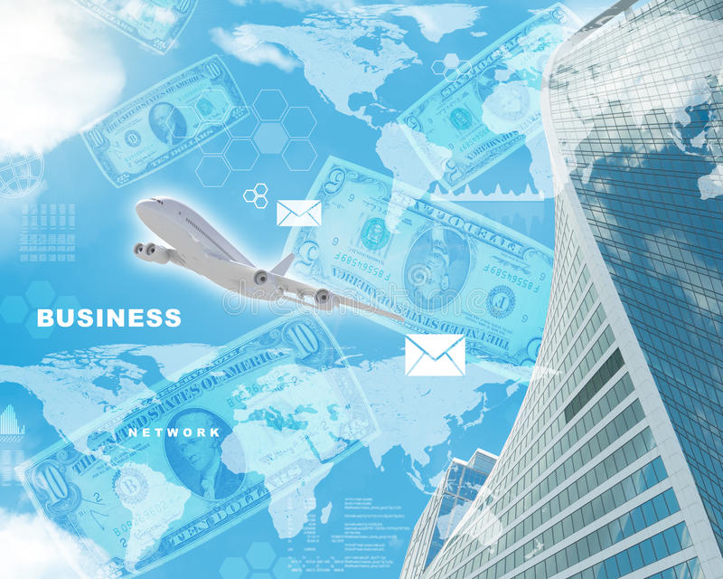 Business building with dollars. Building with world map and dollars on blue sky background stock illustration