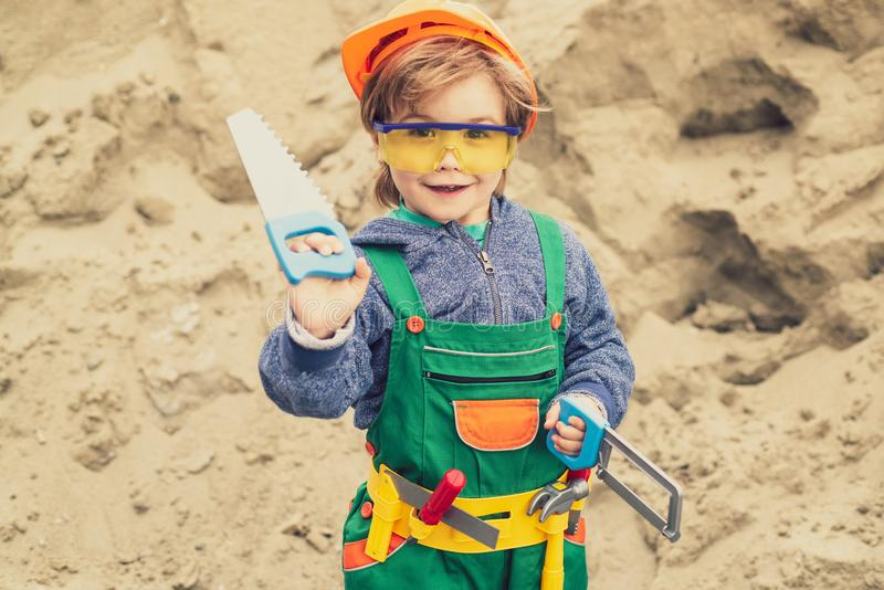 Business, building, industry, technology, builder concept. Young builder in hard hat. Close up engineers working stock image