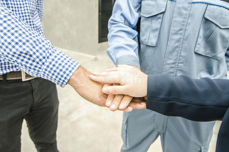 Business, building, partnership, gesture and people concept , st stock photo